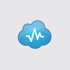 Blue cloud pulse icon.