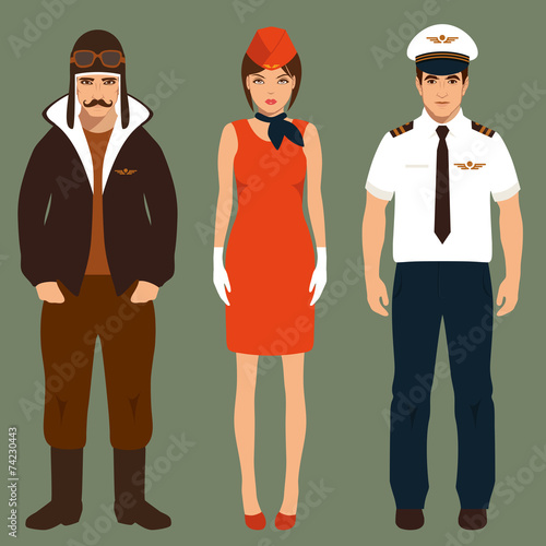 pilot and stewardess, airplane people