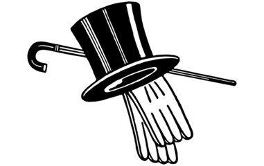 Top Hat Gloves And Cane