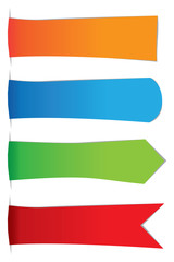 Set of 4 Flags and Buntings Vector Illustration with Copy Space