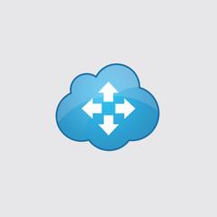 Blue cloud move icon.
