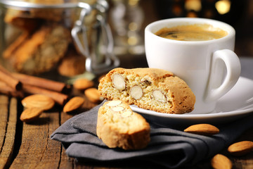 Good morning concept - espresso and almond cantuccini