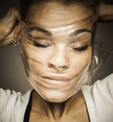 Deformated woman's face