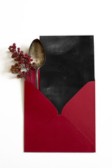 Paper blackboard. Red Envelope,  and antique spoon, Christmas no