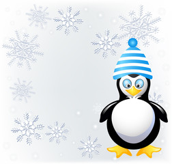 Amusing penguin in knitted hat