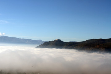 Montecassino Abbey with fog