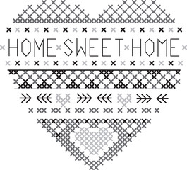 heart home sweet home fair isle pattern vector