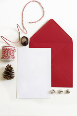 Red Envelope, Christmas letter, white background and ornaments