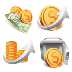 gold coins money safe box (icons set)