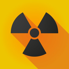 Long shadow icon with a radioactivity sign