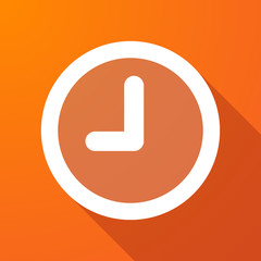 Long shadow icon with a clock