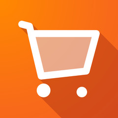 Long shadow icon with a shopping cart