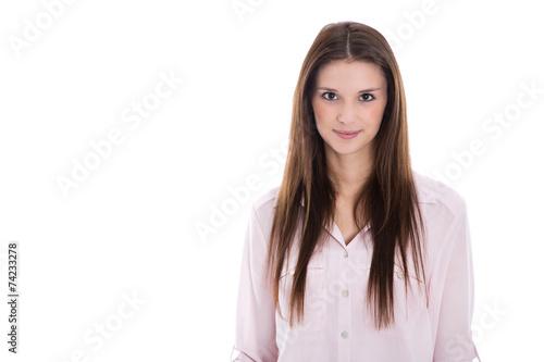 canvas print picture Junge Frau isoliert mit langen Haaren und rosaroter Bluse