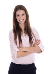 Bewerbungsfoto einer jungen lachenden Frau isoliert