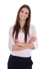 Junge Business Frau lachend im Portrait: Freisteller