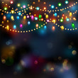 Christmas lights background. Vector - 74233664