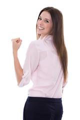 Erfolgreiche junge Frau isoliert auf weiß