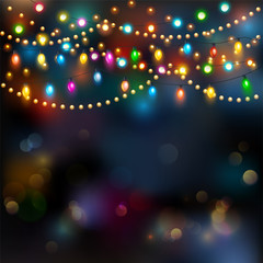 Christmas lights background. Vector