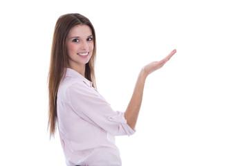 Präsentation eines Produktes: junge Frau freigestellt mit Hand