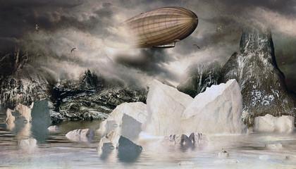 Zeppelin im Eismeer mit Eisberge und Felsen