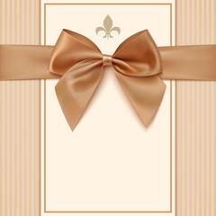 Vintage greeting card template with golden bow and a ribbon