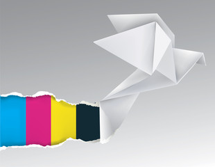 Origami bird with print colors