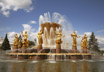 Peoples Friendship fountain in Moscow, Russia