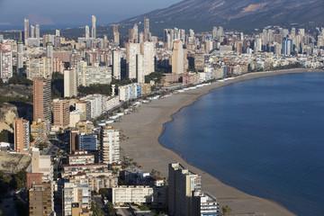 the coast and high rise skyline of benidorm