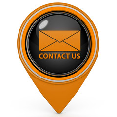 Contact us pointer icon on white background