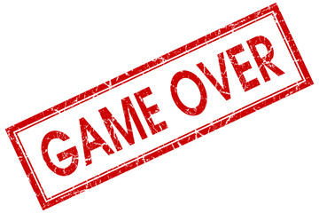 game over red square stamp isolated on white background