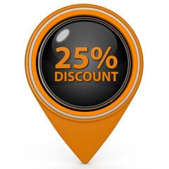 Discount 25 pointer icon on white background