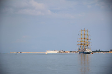 old sailing ship at anchor in the harbor