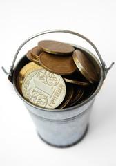 Ukrainian hryvnia iron in the bucket. Inflation in Ukraine.