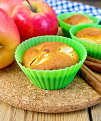 Cupcake with apples on board