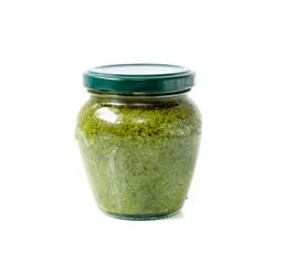 pesto sauce inside vaccum jar