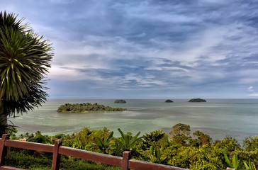 Scenic view on small tropical islands near Koh Chang island