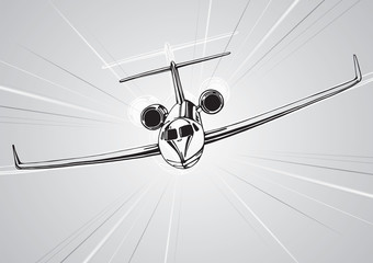 Flying plane, dynamic composition, vector design