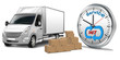 24/7 Service. Kleintransporter mit Stoppuhr und Pakte