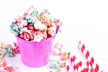 cololurful popcorn and drinking straws