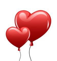 Red balloon heart on white