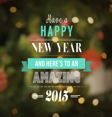 Happy new year vector with text