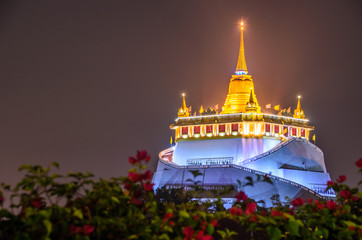 Golden Mount pagoda in Wat Saket temple , Bangkok , Thailand
