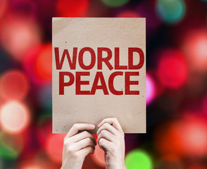 World Peace card written on colorful background