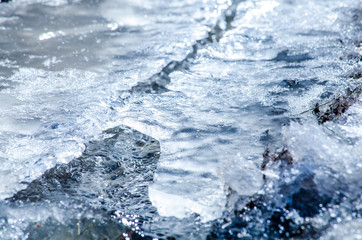 Water flowing under thin ice