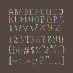 Vector hand drawn doodle font in sketch style