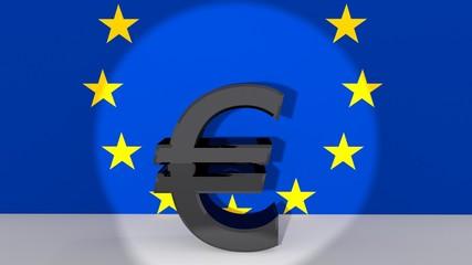 Euro symbol in spotlight
