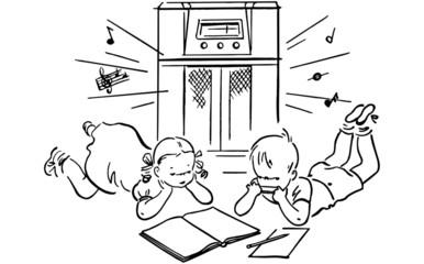 Children Listening To Radio