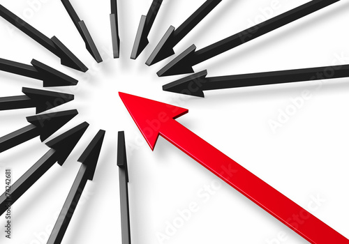 Bold Red Arrow Surrounded By Black Arrows