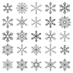 Gray Snowflakes White Background