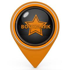 Bookmark pointer icon on white background
